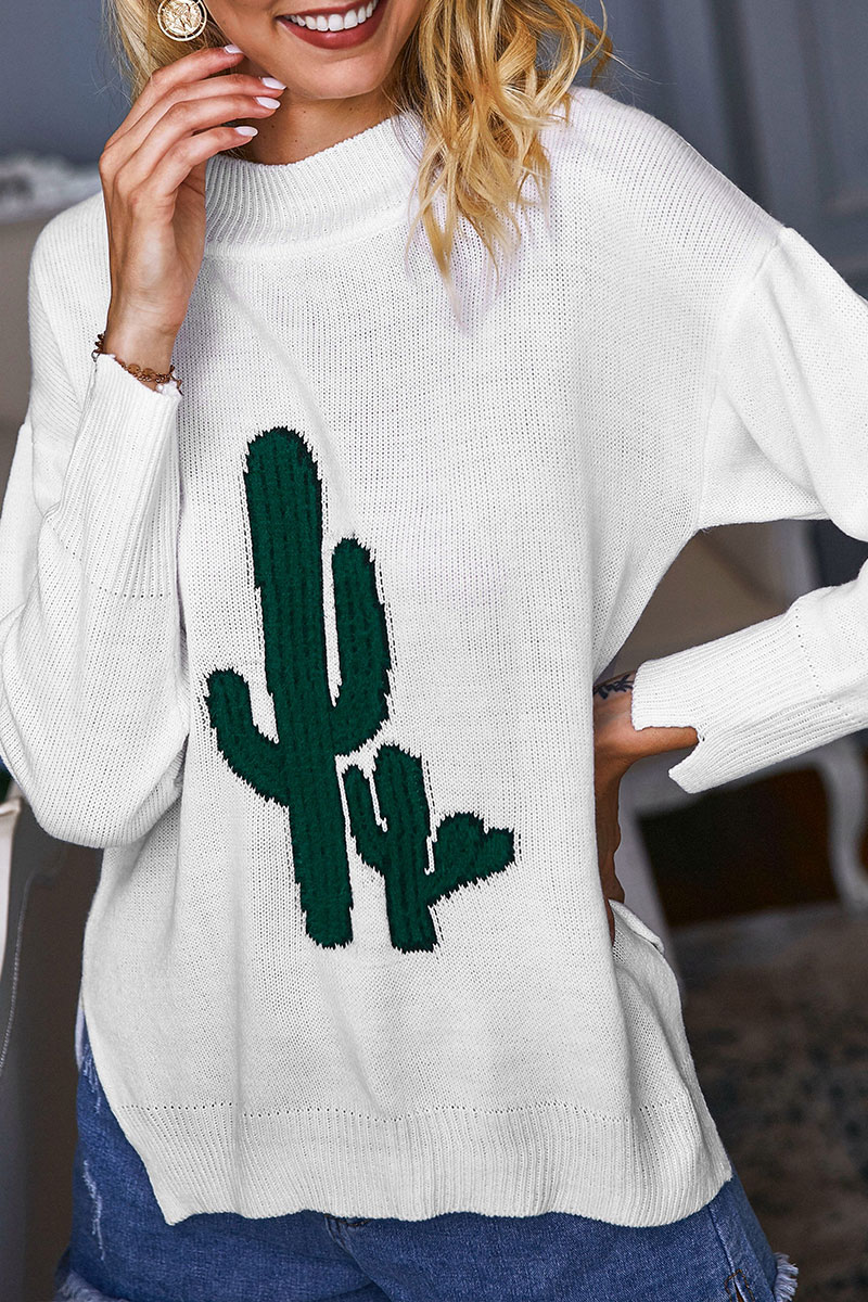 Lovely Cactus Shape Design White Sweaters