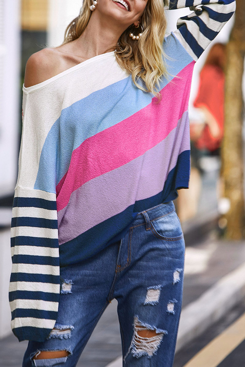Lovely Color-lump Patchwork Multicolor Sweaters