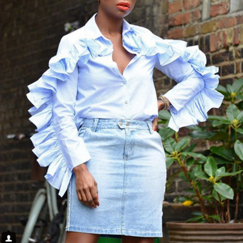 Lovely Chic Flounce Patchwork Baby Blue Blouse