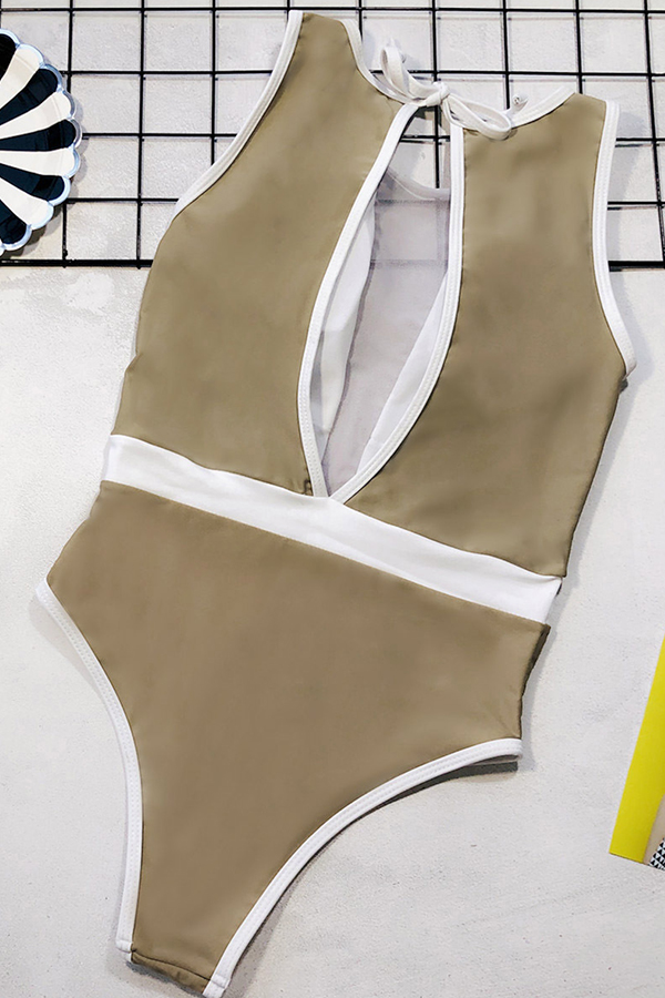 Lovely Patchwork Khaki One-piece Swimsuit