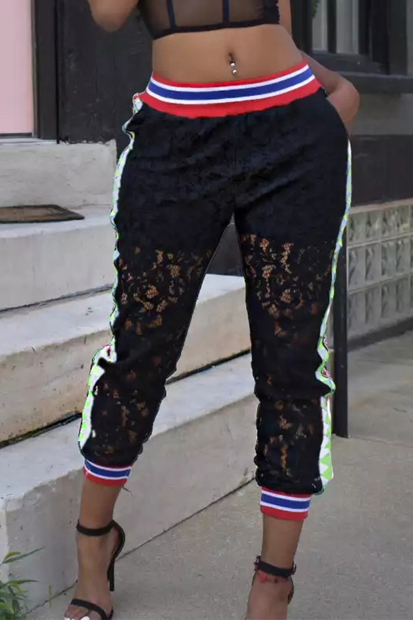 Lovely Casual Hollow-out Lace Black Pants