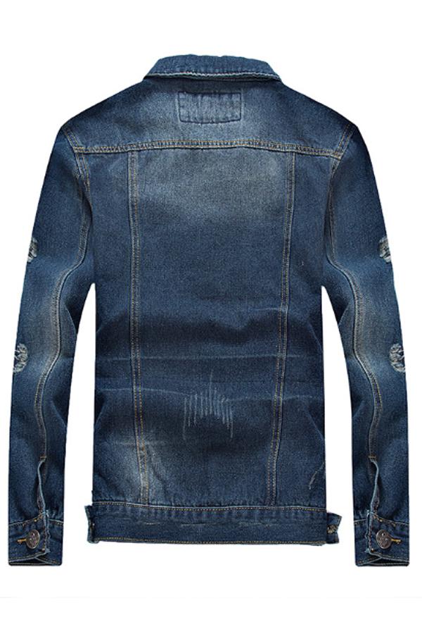 Lovely Casual Turndown Collar Broken Holes Blue Cowboy Wear