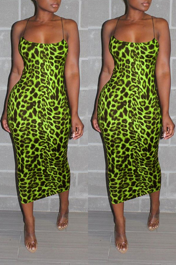 Lovely Sexy Spaghetti Straps Leopard Printed Green Ankle Length Dress