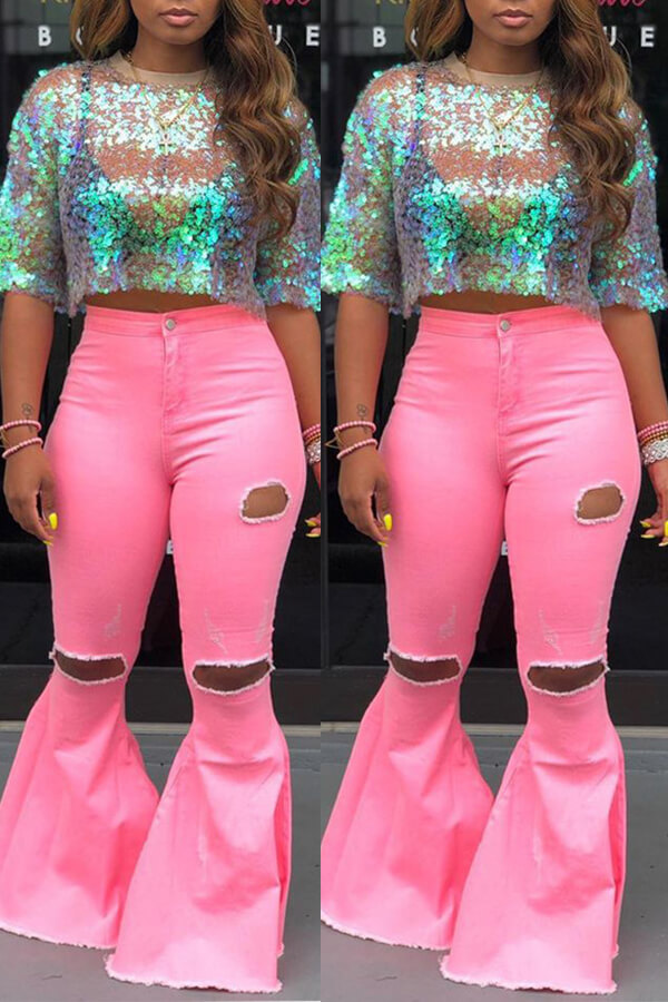 Lovely Casual Mid Waist Broken Holes Pink Pants фото
