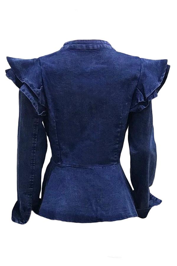 Lovely Stylish Mandarin Collar Ruffle Zipper Design Blue Coat