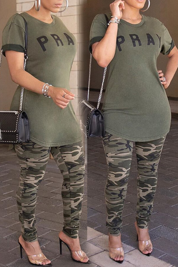 Lovely Casual Letter Printed Olive T-shirt