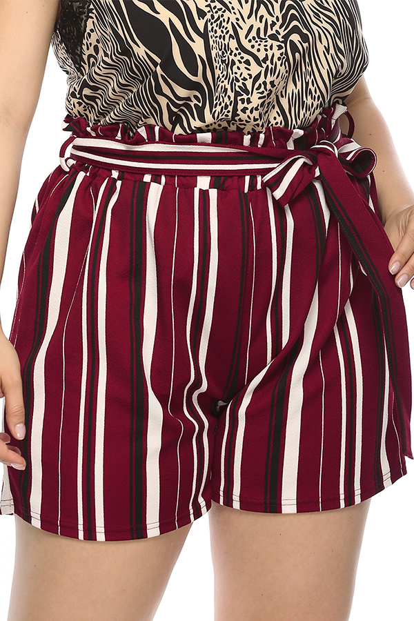 Lovely Leisure Striped Red Plus Size Shorts