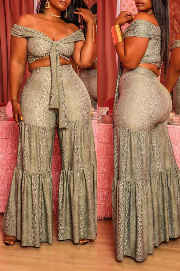 Lovely Trendy Patchwork Grey Two-piece Pants Set