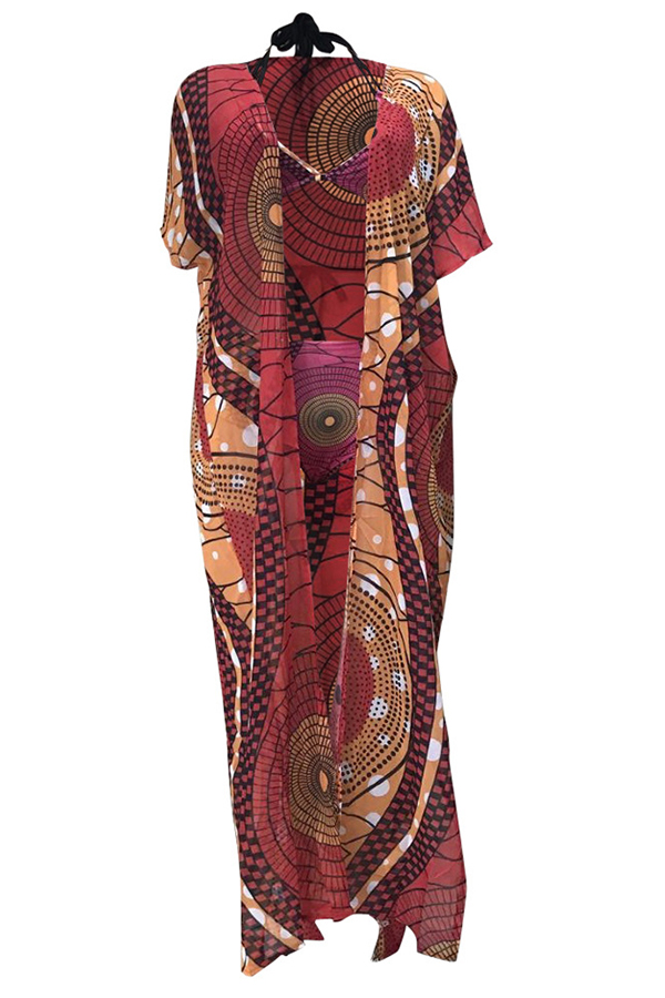 Lovely Spaghetti Strap Printed Red Two-piece Swimwear(With Shawl)
