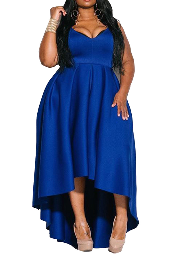 Lovely Party Spaghetti Strap Sleeveless Deep Blue Floor Length Plus Size Dress