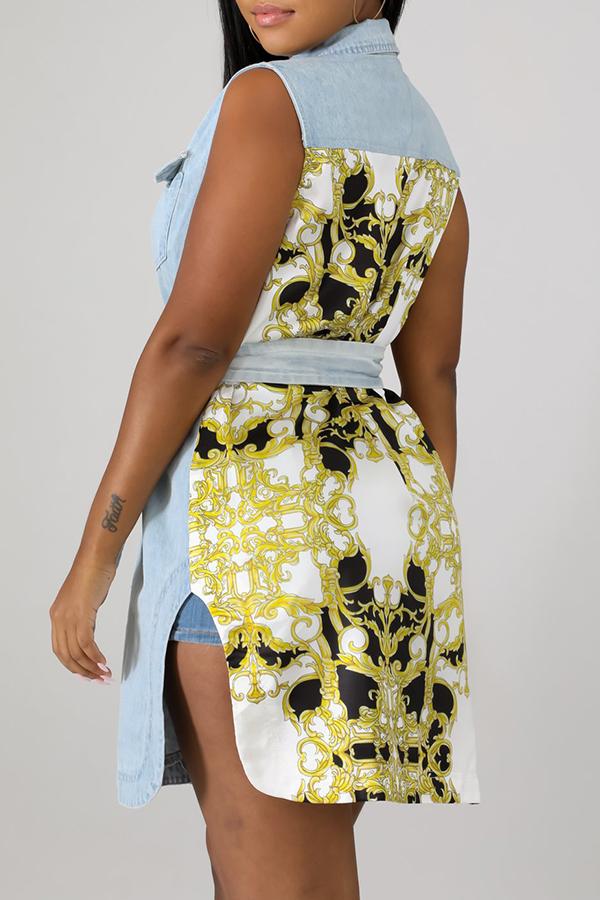 Lovely Casual Sleeveless Patchwork Blue Mini Dress