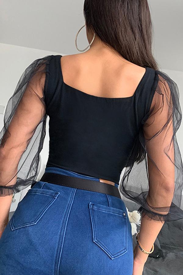 Lovely Sexy Patchwork Black Bodysuit