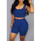 Lovely Casual Sleeveless Lace-up Blue Two-piece Sh