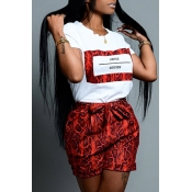 Lovely Casual O Neck Snakeskin Pattern Printed Red Two-piece Shorts Set