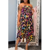 Lovely Casual Off The Shoulder Printed Multicolor