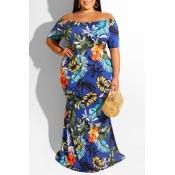 Lovely Casual Off The Shoulder Floral Printed Blue