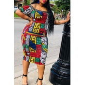 Lovely Casual Off The Shoulder Geometric Printed M
