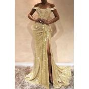 Lovely Elegant Off The Shoulder Sequins Decoration