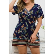 Lovely Bohemian V Neck Printed Navy Plus Size One-