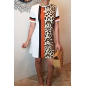 Lovely Casual O Neck Leopard Printed Patchwork Whi