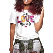 Lovely Casual O Neck Letter Printed Multicolor T-s