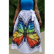Lovely Sweet Butterfly Printed White Floor Length