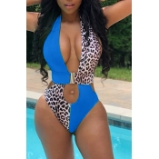 Lovely Hollow-out Patchwork Blue One-piece Swimwear