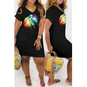 Lovely Casual V Neck Printed Black Mini Dress