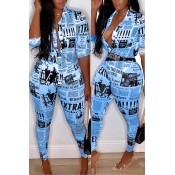 Lovely Casual V Neck Letter Printed Blue Two-piece Pants Set(Without Belt)