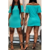 Lovely Casual Off The Shoulder Baby Blue Mini Dres