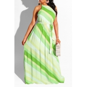 Lovely Bohemian Striped Green Floor Length A Line