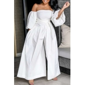 Lovely Stylish Off The Shoulder White One-piece Ju