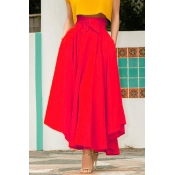 Lovely Sweet High Waist Red Ankle Length A Line Sk