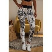 Lovely Casual Printed Patchwork White Leggings