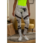 Lovely Casual Letter Printed White Leggings