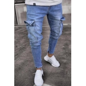 Lovely Casual Pockets Design Baby Blue Jeans