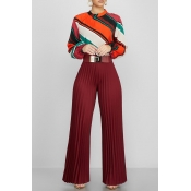 Lovely Stylish High Waist Wine Red Pants(Without B