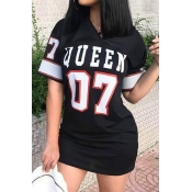 Lovely Casual V Neck Letter Printed Black Mini Dress