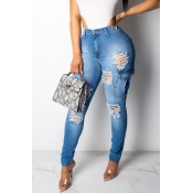 Lovely Stylish High Waist Broken Holes Blue Jeans