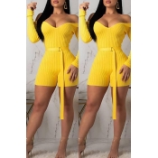 Lovely Trendy V Neck Yellow One-Piece Romper(With