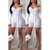 Lovely Trendy V Neck White One-Piece Romper(With B