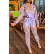 Lovely Chic Patchwork See-through Purple Two-piece Pants Set