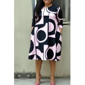 Lovely Casual Geometric Printed Light Pink Plus Si