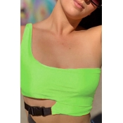 Lovely Casual Hollow-out Green Camisole
