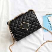 Lovely Fashion Chain Strap Design Black Crossbody