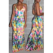 Lovely Trendy Hollow-out Multicolor Floor Length Dress
