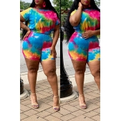 Lovely Casual Tie-dye Red Two-piece Plus Size Shor