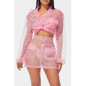 Lovely Casual See-through Light Pink Two-piece Ski