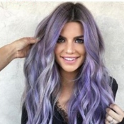Lovely Trendy Natural Looking Long Wavy Purple Wig