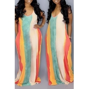 Lovely Casual U Neck Striped Multicolor Floor Leng